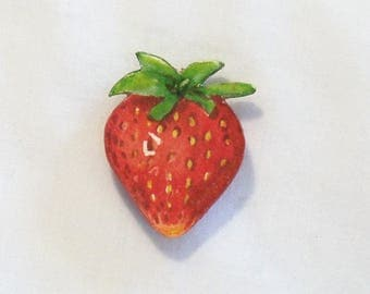 Refrigerator Magnet - Hand Painted Strawberry - Watercolor Painting - Fruit Magnet - Kitchen Decor - Strawberry Magnet