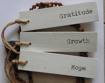 Creamy White - Word of the Year wooden sign - set of three - Growth, Hope, Gratitude