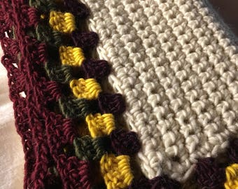 Hand crochet throw,  aphgan, pure wool, very soft and snuggly, vintage style