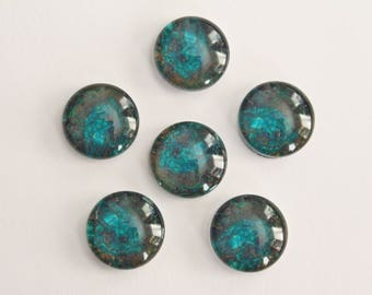 Glass Cabochons - Turquoise Aqua Blue Brown Black Design . 12mm (6)