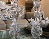 European Cut Hobstar Pair of Crystal Candlesticks Single Candle Holder,  Flute Cut , Crosshatching Cut Hollow Core Wedding TYCAALAK