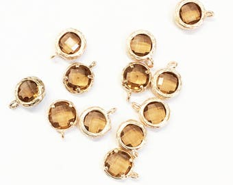 5 glass faceted flat round pendant charm with gold frame,  antique gold glass charm 10x7 mm, framed glass with brass setting