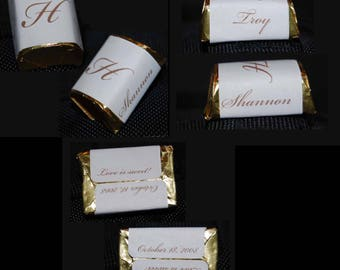 300 Personalized Wedding Mini Candy Labels - Custom Colors Available