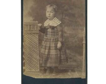 Child in Plaid Dress Vintage Photo
