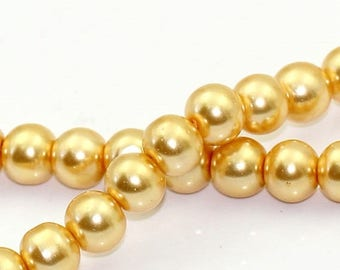 """30% Retirement Closeout - Champagne Gold, Glass Pearl, 8mm Glossy Round, 15"""" Strand, 8GL14-2460"""