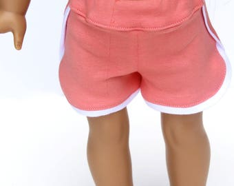 Fits like American Girl Doll Clothes - Gym Shorts in Sherbet