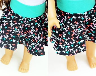 SAMPLE SALE - Fits like American Girl Doll Clothes - Skater Skirt in Black Sparks
