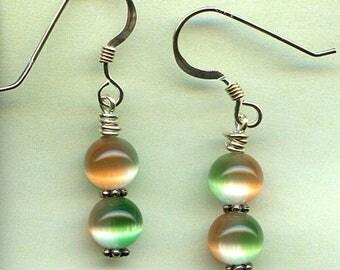 Green, Orange and White Cat Eye Sterling Silver Earrings