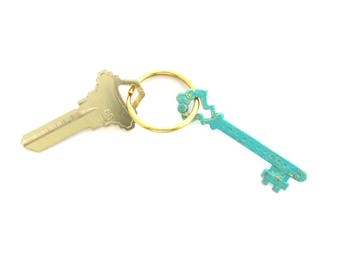 Solid Brass Key Ring, Fancy Vintage Key, Blue Keychain, Gifts Under 20, Hand Painted, Brass Keychain, Ready to Ship, Made in USA