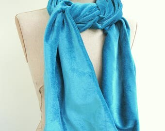 NEW Ready to ship Turquoise luxury velvet velour scarf- double sided- blue-green ready made winter unisex muffler