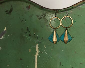 Rocket To The Moon earrings hammered brass circle with patina fan and brass dagger drop accents