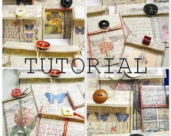 Sewn Paper Gift Bag Digital PDF Instant Download Tutorial - Using Vintage Dictionary Pages and Buttons