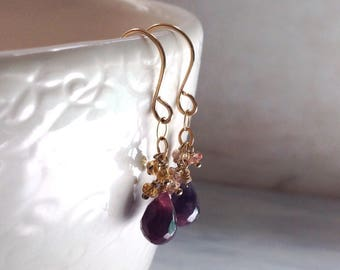 Gold Sapphire Earrings - Pink Sapphire Stone Earrings - September Earrings - Dainty Earrings - Yellow Sapphire Earrings - 14kt Gold Earrings