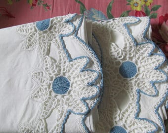 Blue and White Crocheted Edge Wedding Trouseau Pillowslip Set