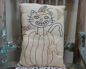 Decorative Halloween Pillow -  Hand Stitched Halloween Pillow - Black Cat - Pumpkin - BOO - Throw Pillow