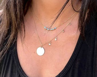 You are my sun, my moon, and all my stars -gold filled round hammered disc- 2 tiny stars - 2 tiny cz - simple elegant modern - By Simag