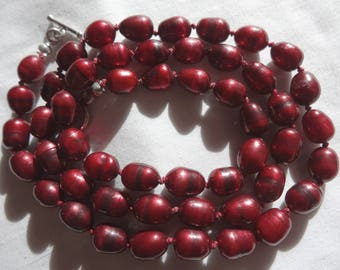 "21"" Long Hand Crafted Freshwater Pearl Necklace Cranberry Potato 8-9.75mm Long Sterling Silver Toggle Clasp N1"