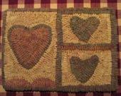 Three Hearts Primitive Rug