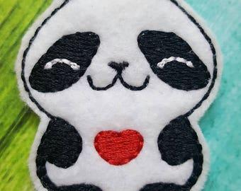 Panda Feltie, Panda and Heart Feltie, Felt Embellishments, Felt Applique, Hair Bow Supplies