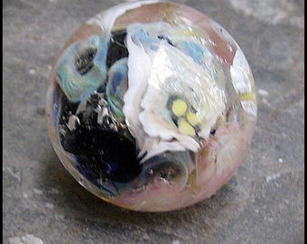 Lampwork Glass Decorative Marble - Floral murrine - borosilicate glass - boro - pyrex - by Hannah Rosner