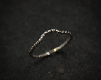 14k Palladium White Gold Wrap Band Ring, Nautical Rope Wrap Style Wedding Band, Chevron Band, Eco Palladium Gold Gaurd Rings