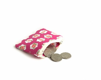 Pink rose fabric small change purse. flash drive case. d ring lobster claw key chain. jewelry pouch small. ear bud pill safety pin case