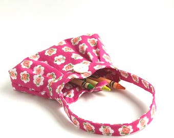 baby girl gifts. small pink toy toddler girl crayon bag. twin first birthday. little mini purse. hot pink pleated purse