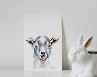 Goat Portrait, Goat Art, Goat Painting, Nursery Goat, Minimalistic Animal Art, Minimalistic Goat, Mini Painting, Nursery Animal Art