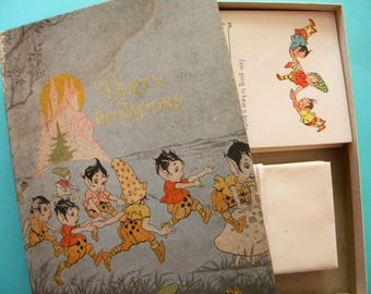 1920's Era Box of Party Invitations with Imps Fairies and Gnomes Antique Stationary