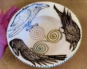 triple Goddess Raven Burning & Blessing Bowl for Smudging Rituals and Ceremony Micaceous  Clay Pottery from Taos, New Mexico