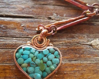 Copper Heart - Turquoise Heart Necklace - Cowgirl Jewelry - Copper Necklace -  Rustic Cowgirl Necklace - Heart of a Cowgirl Jewelry