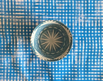 blue gingham. block printed linen napkins. set of four / hand printed / placemats