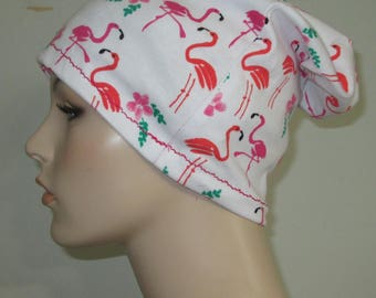 Chemo Hat Beach Hat, Flamingoes, Sleep Cap, Cancer Hat, Alopecia Slouch Hat