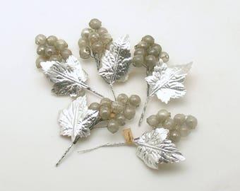 Vintage Christmas Corsage Picks Glass Beads Silver Leaves Christmas Decoration