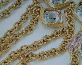 Vintage Chanel gold plate and crystal necklace