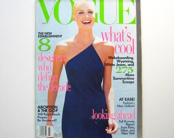Vintage Vogue Magazine - July 1996 - Fashion magazine, Fashion Editorials, Beauty and health, Collector's item, 1990's fashion, 90's ads