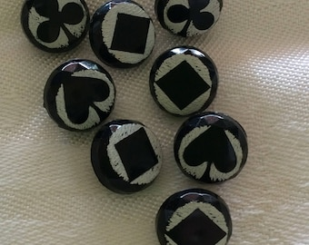 Tiny Black and White Buttons with Bold Designs- Looks Like Glass but It Isn't