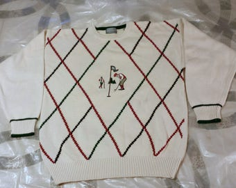 Vintage Lord and Taylor Men's Golf Sweater Large Cotton.