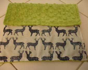 Meadow Deer Navy and Jade Green Minky Burp Cloth 10 x 13 READY TO SHIP