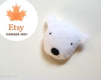 Polar Bear Felt Brooch Cute Polar Bear Felt Pin Handmade Felt Polar Bear Pin Black & White Felt Fashion Accessory Canadian Bear EtsyCA150+