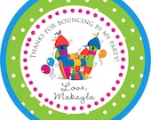 DIY Printable File- Bounce House Bouncy Theme Birthday Thank You Stickers, Tags, Labels- Avery Label 22807