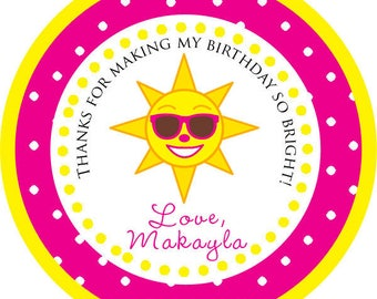 DIY Printable File- Happy Sun Sunshine Party Thank You PERSONALIZED Stickers, Tags, Labels- Avery Label 22807