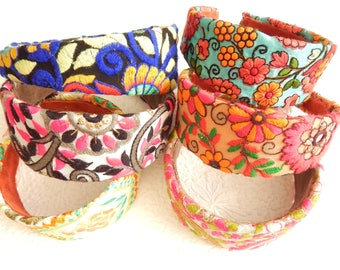 Bright floral embroidered wide headbands, headbands for women, hair accessory