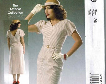 1933 McCalls 7153 Sewing Pattern Vintage Style Sizes 6-8-10-12-14 Retro Reissued