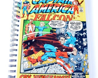 Captain America and Falcon Comic Journal & Sketchbook // Recycled Vintage Comic