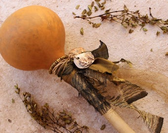 Shaman Rattle + Desert Creosote and Ocotillo + Ritual + Ceremony + OOAK + Artisan + Olive Green + Shamanic Journey + Space Clearing