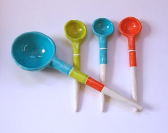 Bright orange, chartreuse & turquoise pottery Serving Spoons, set of 4, colorful stripes whimsical ceramic Hostess Gift