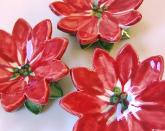 Poinsettia pottery Dish Set :) 3 ceramic serving flowers, whimsical hostess gift, candleholders, polka-dot ring dish