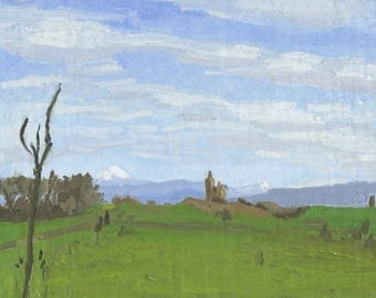 Original Oil Painting: Mount McLoughlin Early Spring, Plein Air
