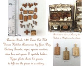 KIT Quarter Scale French Country Laser Cut and Engraved Veneer Kitchen Accessories Kit Cherry, Maple or Walnut Veneer 1/4 inch, 1:48 LC046